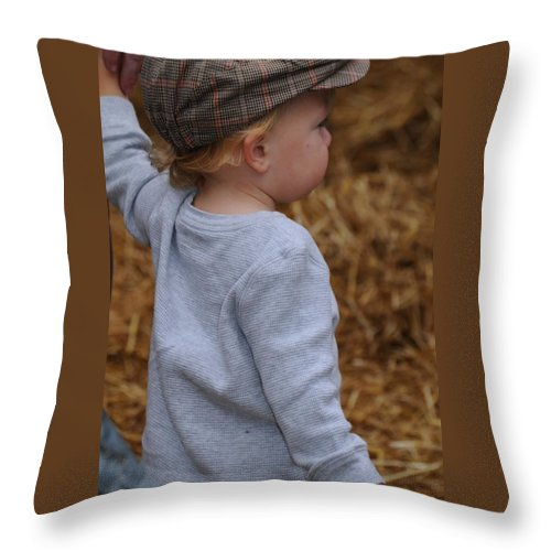 Hat Throw Pillow featuring the photograph Boy In Cool Hat by Sheri Bartoszek