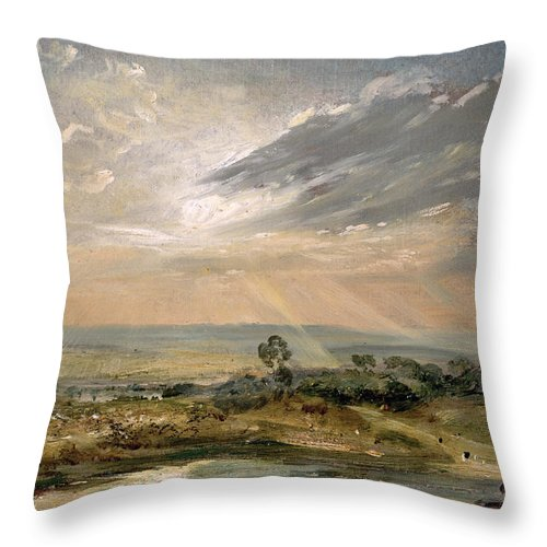 Sky; Landscape; Sunrise; Sunset; Dramatic; Romantic; Romanticism Throw Pillow featuring the painting Branch Hill Pond Hampstead by John Constable