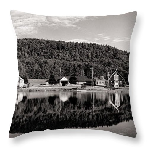 Adirondacks Throw Pillow featuring the photograph Brant Lake Reflections Black And White by Joshua House