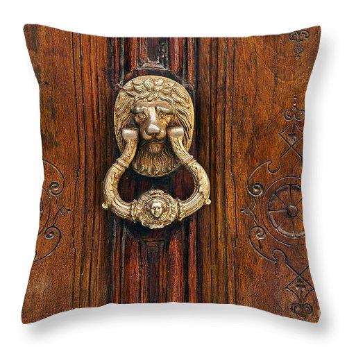 Madrid Throw Pillow featuring the photograph Brass Door Knocker by John Greim
