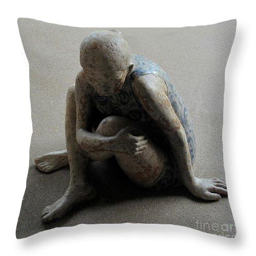 Sculpture Throw Pillow featuring the sculpture Breakfast on the grass by Raimonda Jatkeviciute-Kasparaviciene