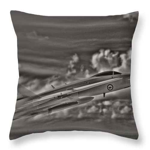 F/a-18 Hornet Throw Pillow featuring the photograph Breaking The Sound Barrier by Douglas Barnard