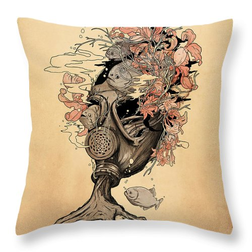 Gasmask Throw Pillow featuring the mixed media Breath by Nicebleed
