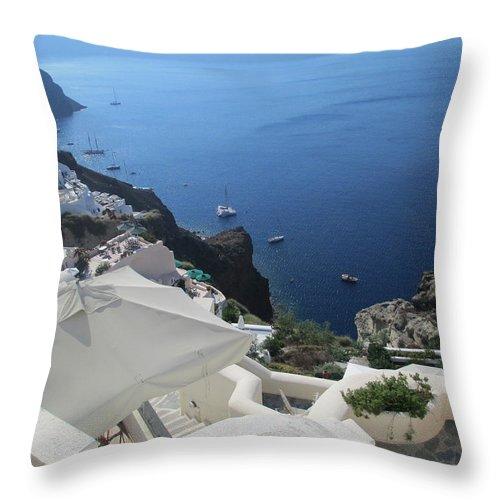 Elaine Haakenson Throw Pillow featuring the photograph Breathtaking Santorini by Elaine Haakenson