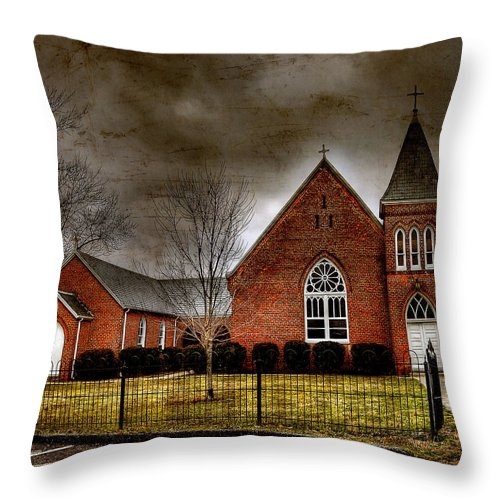Brick Church Throw Pillow featuring the photograph Brick Church by Todd Hostetter