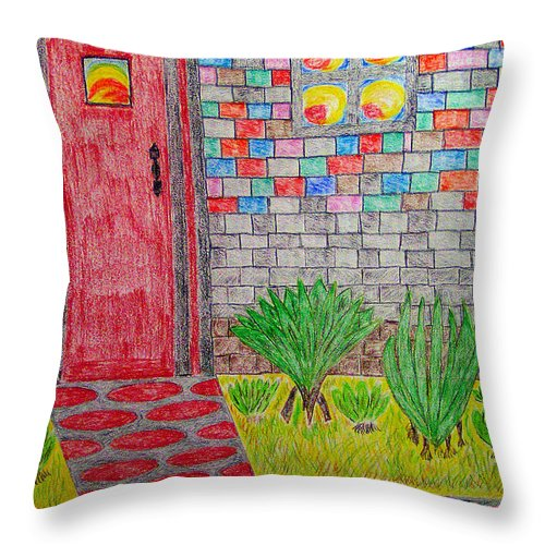 Watercolor On Paper Throw Pillow featuring the painting Brick House by Robyn Louisell