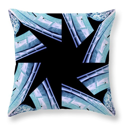 Abstract Throw Pillow featuring the photograph Bridge - Abstract by Ellen Heaverlo