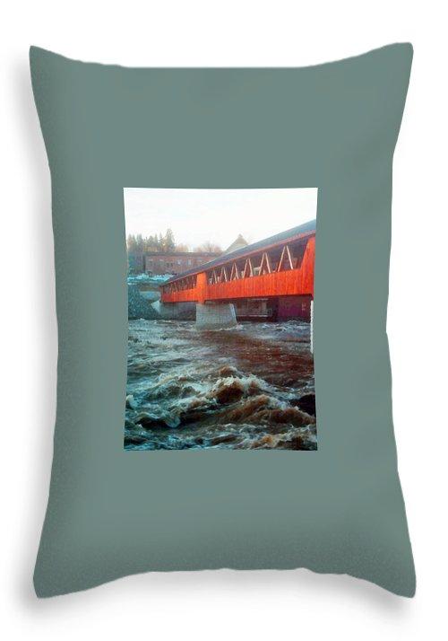 Bridge Prints Throw Pillow featuring the photograph Bridge Across The Ammonoosuc River by Marie Jamieson
