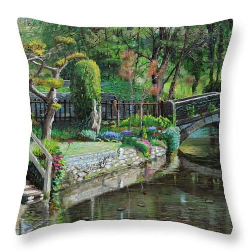 Scenic; Peak District; Garden; Flowers; Flower; Tranquil; Serene; English Landscape; Bridge; Bakewell; Derbyshire ; Tree; Trees; Water; Stairs Throw Pillow featuring the painting Bridge And Garden - Bakewell - Derbyshire by Trevor Neal