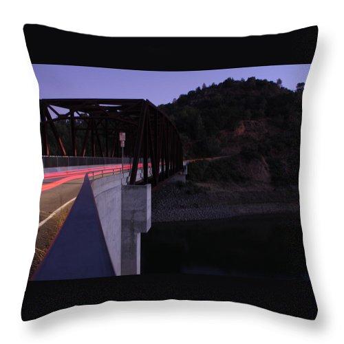 Landscape Throw Pillow featuring the photograph Bridge At Dusk by Leonard Sharp