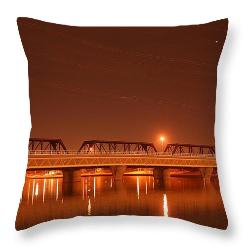 Bridge Throw Pillow featuring the photograph Bridge In The Mist by Louise Mingua