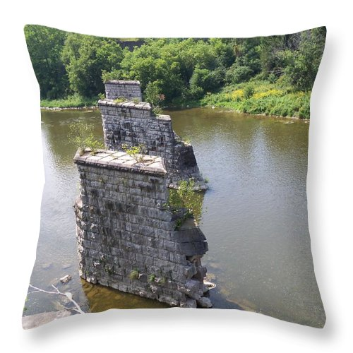 Bridge Throw Pillow featuring the photograph Bridge Of Old by Corinne Elizabeth Cowherd