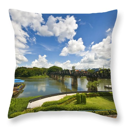 River Kwai Throw Pillow featuring the photograph Bridge On The River Kwai Thailand by Charuhas Images