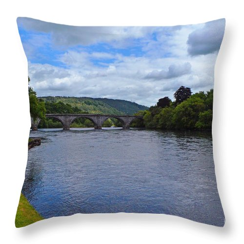 River Throw Pillow featuring the digital art Bridge On The River Tay by Pravine Chester