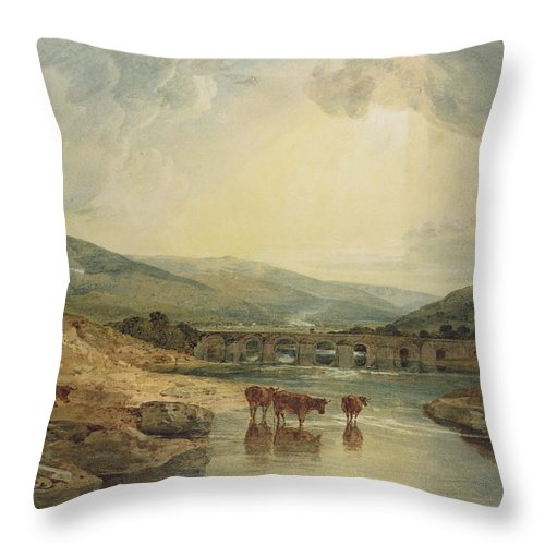 Aqueduct; Haystack; River Scene; Cattle; Landscape; Britain; Powys; Dyfed; Britain; Wales Throw Pillow featuring the painting Bridge Over The Usk by Joseph Mallord William Turner