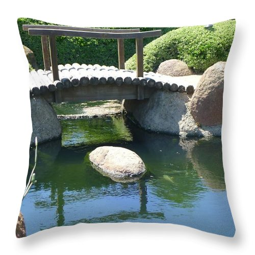 Throw Pillow featuring the photograph Bridge To Walk Path by Nora Boghossian
