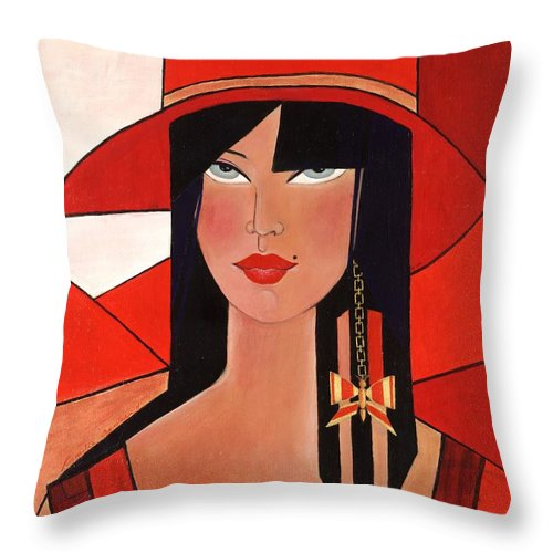 Portrait Throw Pillow featuring the painting Bridget by Camelia Apostol