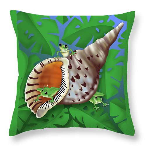 Frogs Throw Pillow featuring the digital art Bright Eyes by Alison Stein