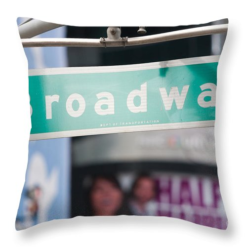 Clarence Holmes Throw Pillow featuring the photograph Broadway Street Sign I by Clarence Holmes