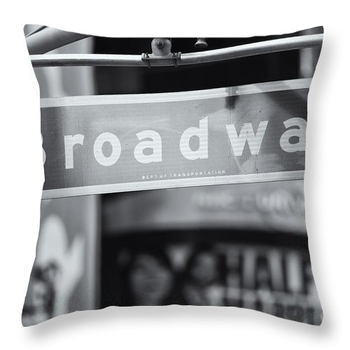 Clarence Holmes Throw Pillow featuring the photograph Broadway Street Sign II by Clarence Holmes