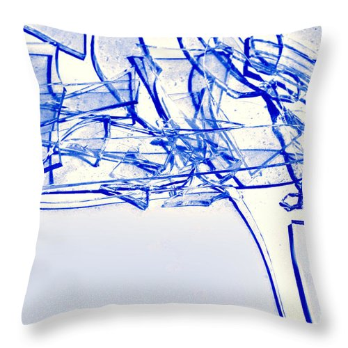 Abstract Throw Pillow featuring the photograph Broken Glass Blue by Susan Stevenson