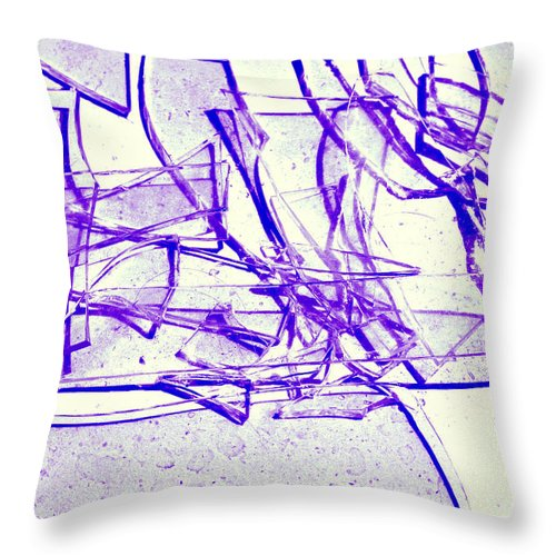 Abstract Throw Pillow featuring the photograph Broken Glass Purple by Susan Stevenson