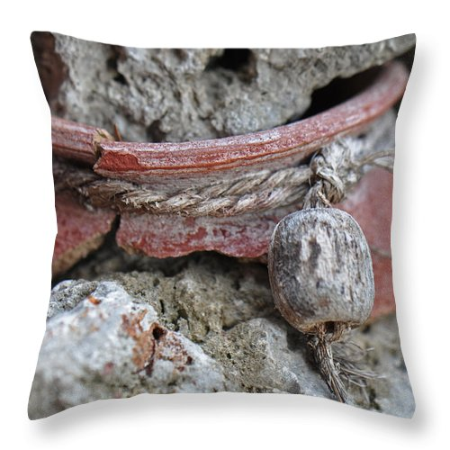 Pottery Throw Pillow featuring the photograph Broken Pottery by Christine Stonebridge