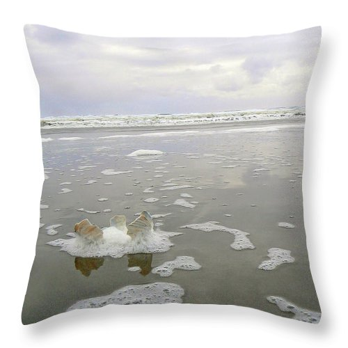Seascape Throw Pillow featuring the photograph Broken Shell by Pamela Patch