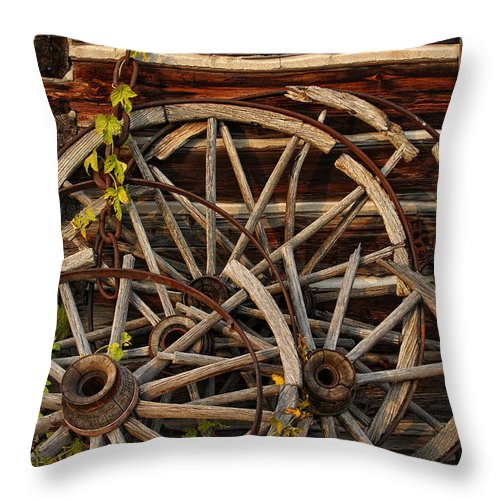 Rustic Throw Pillow featuring the photograph Broken Spokes by Tamara Brown