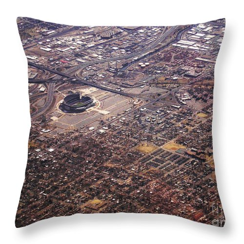 Aerial Throw Pillow featuring the photograph Broncos Stadium Aerial by Anthony Wilkening