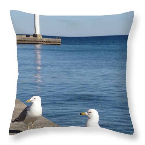 Bronte Throw Pillow featuring the photograph Bronte Lighthouse Gulls by Laurel Best