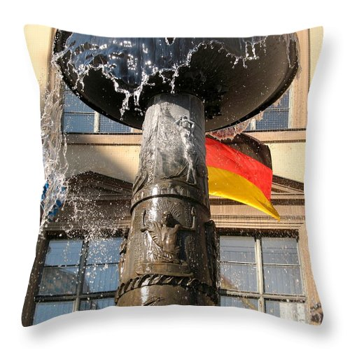 Fountain Throw Pillow featuring the photograph Bronze Fountain by Christiane Schulze Art And Photography