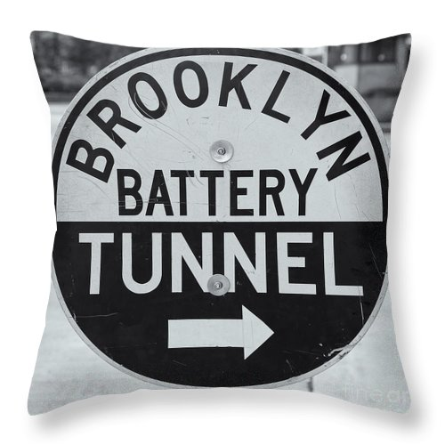 Clarence Holmes Throw Pillow featuring the photograph Brooklyn-battery Tunnel Sign I by Clarence Holmes