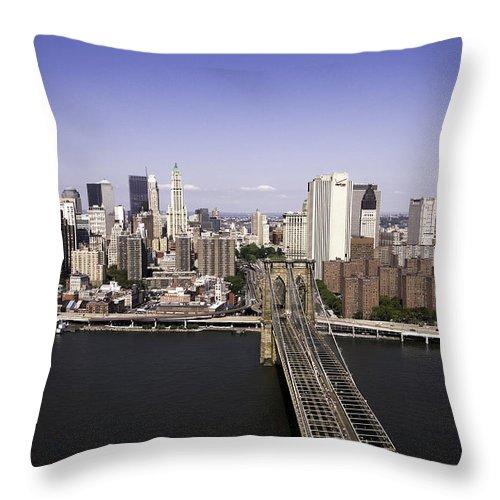 Brooklyn Bridge Throw Pillow featuring the photograph Brooklyn Bridge by Paul Plaine