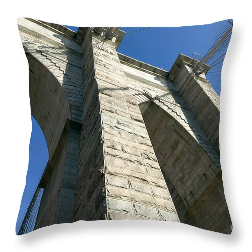 Clarence Holmes Throw Pillow featuring the photograph Brooklyn Bridge Tower I by Clarence Holmes