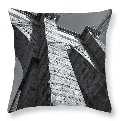 Clarence Holmes Throw Pillow featuring the photograph Brooklyn Bridge Tower II by Clarence Holmes