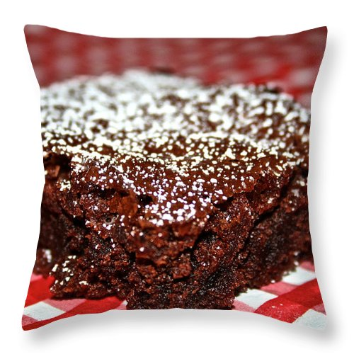 Food Throw Pillow featuring the photograph Brownie Focal Point by Susan Herber