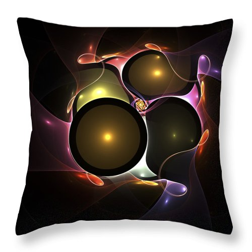 Bubble Bubbles Fractal Fractals Art Modern Color Colorful Light Lights Glowing Wonderful Abstract Wedding Throw Pillow featuring the digital art Bubble Wedding by Steve K