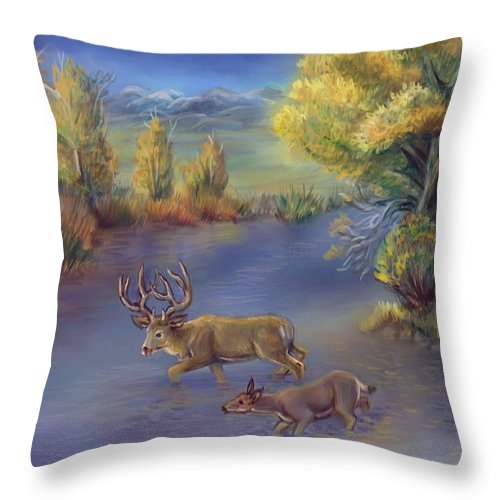 Animal Throw Pillow featuring the painting Buck And Doe Crossing River by Dawn Senior-Trask