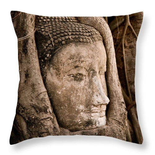 Ancient Throw Pillow featuring the photograph Buddha Head Strangled By The Roots by U Schade