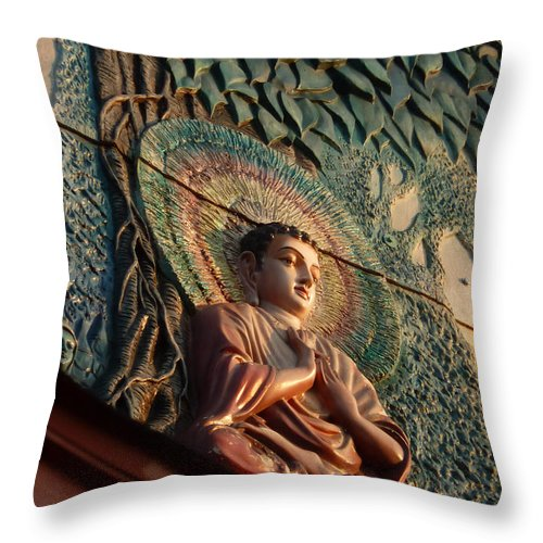 Leaf Throw Pillow featuring the photograph Buddha Relief by Angela Wright