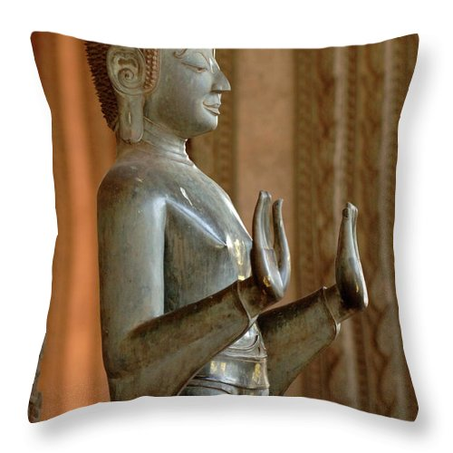 Laos Throw Pillow featuring the photograph Buddha Vientienne Laos by Bob Christopher
