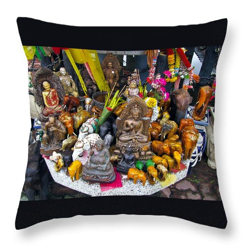 Buddhas Throw Pillow featuring the photograph Buddhas by Harry Spitz
