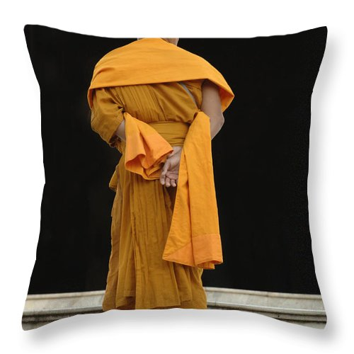 Buddha Throw Pillow featuring the photograph Buddhist Monk 1 by Bob Christopher