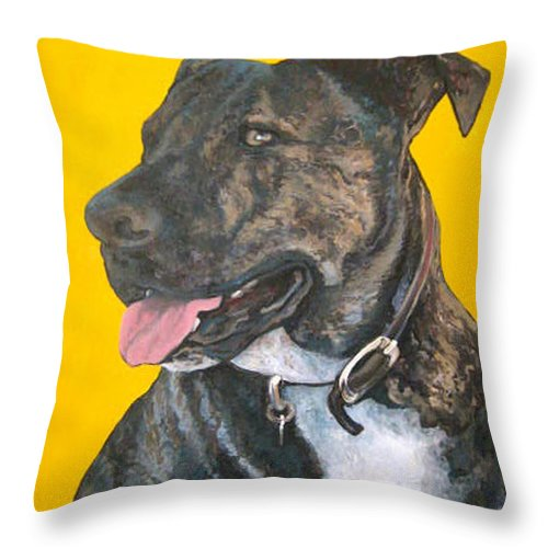 Dog Portrait Throw Pillow featuring the painting Buddy by Tom Roderick