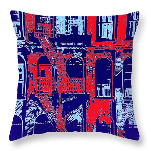 Building Facades Throw Pillow featuring the photograph Building Facade In Blue And Red by Rich Walter