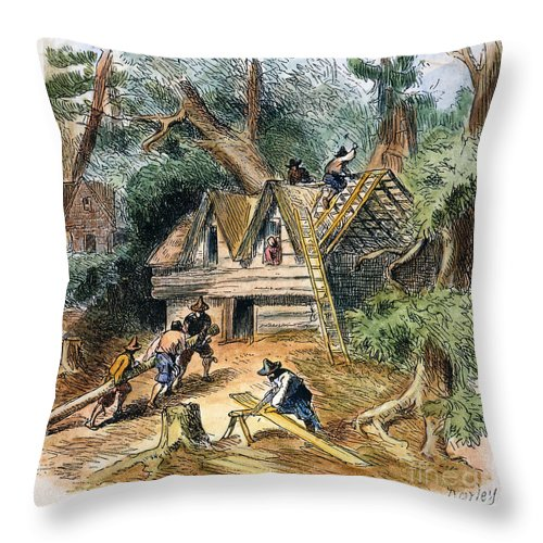 17th Century Throw Pillow featuring the photograph Building Houses, 17th C by Granger