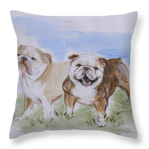 Bulldog Throw Pillow featuring the painting Bulldog Tough Love by Ron Hevener