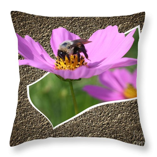 Nature Throw Pillow featuring the photograph Bumble Bee Pop Out by Smilin Eyes Treasures