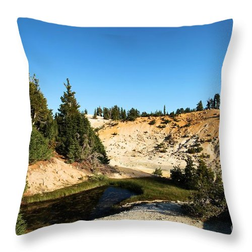 Lassen Volcanic National Park Throw Pillow featuring the photograph Bumpass Hell Pools by Adam Jewell
